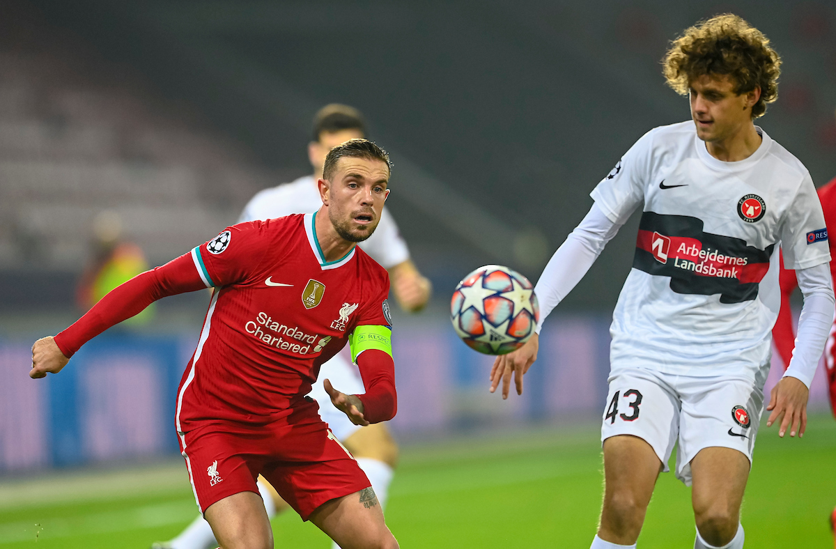 Liverpool's captain Jordan Henderson during the UEFA Champions League Group D match between FC Midtjylland and Liverpool FC at the Herning Arena