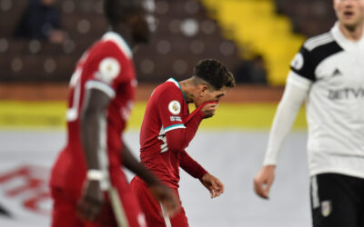 Liverpool's Roberto Firmino looks dejected during the FA Premier League match between Fulham FC and Liverpool FC at Craven Cottage