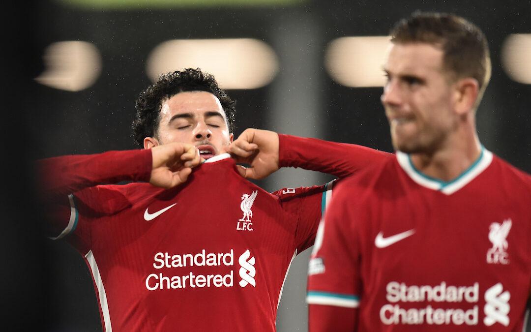 Liverpool's Curtis Jones looks dejected after the FA Premier League match against Fulham FC