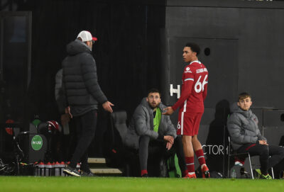 Liverpool's Trent Alexander-Arnold with manager Jürgen Klopp during the FA Premier League match against Fulham FC