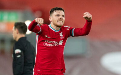 Liverpool's Andy Robertson celebrates at the final whistle during the FA Premier League match between Liverpool FC and Tottenham Hotspur FC at Anfield
