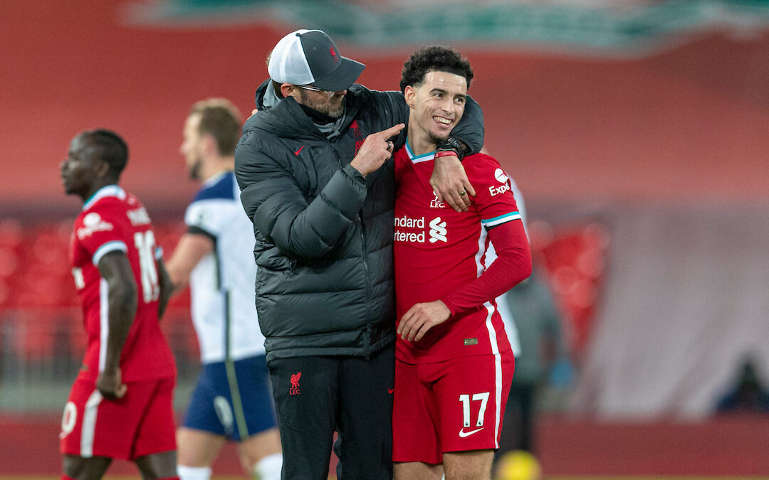 Liverpool's manager Jürgen Klopp celebrates with Curtis Jones at the final whistle during the FA Premier League match between Liverpool FC and Tottenham Hotspur FC at Anfield