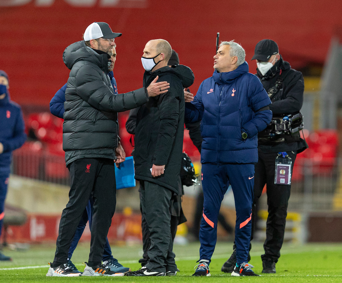 Liverpool's manager Jürgen Klopp and Tottenham Hotspur's manager Jose Mourinho at the final whistle during the FA Premier League match between Liverpool FC and Tottenham Hotspur FC at Anfield
