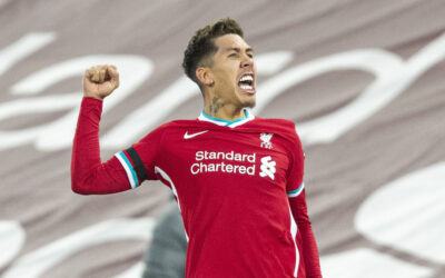 Liverpool's match-winning goal-scorer Roberto Firmino celebrates after scoring the second goal during the FA Premier League match between Liverpool FC and Tottenham Hotspur FC at Anfield