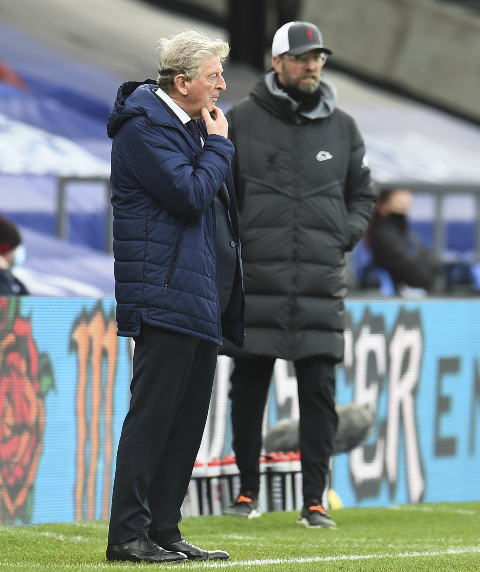 Crystal Palace's manager Roy Hodgson (L) and Liverpool's manager Jürgen Klopp during the FA Premier League match between Crystal Palace FC and Liverpool FC at Selhurst Park