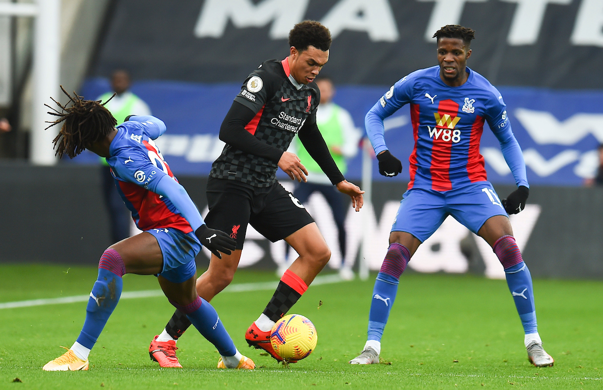 Liverpool's Trent Alexander-Arnold during the FA Premier League match between Crystal Palace FC and Liverpool FC at Selhurst Park