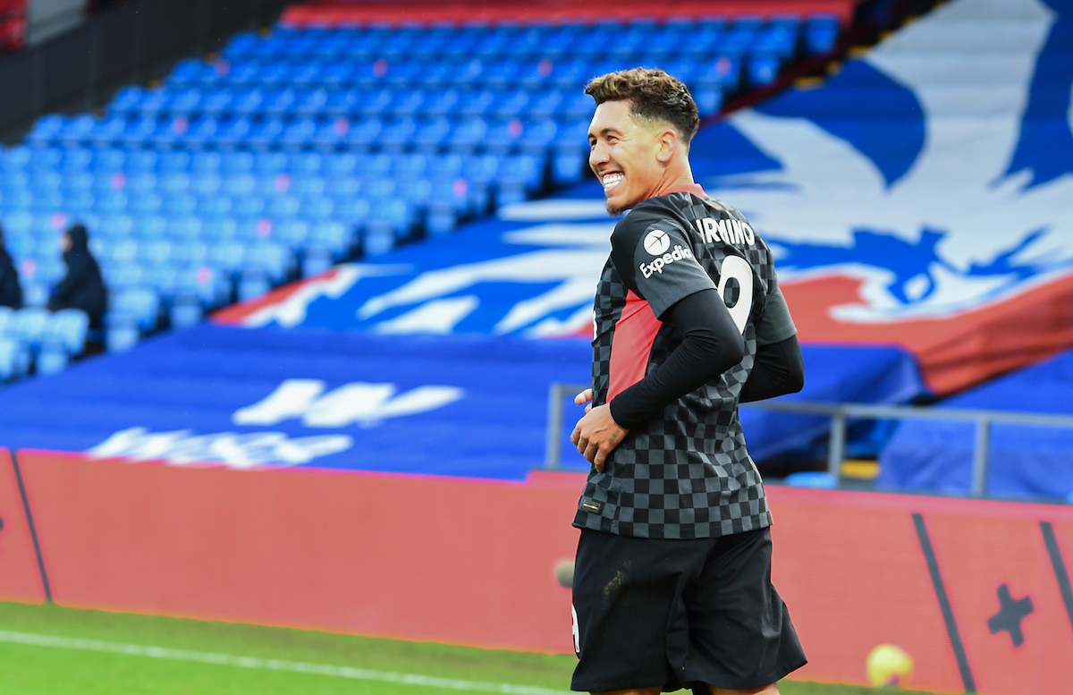 Liverpool's Roberto Firmino celebrates after scoring the fifth goal during the FA Premier League match between Crystal Palace FC and Liverpool FC at Selhurst Park
