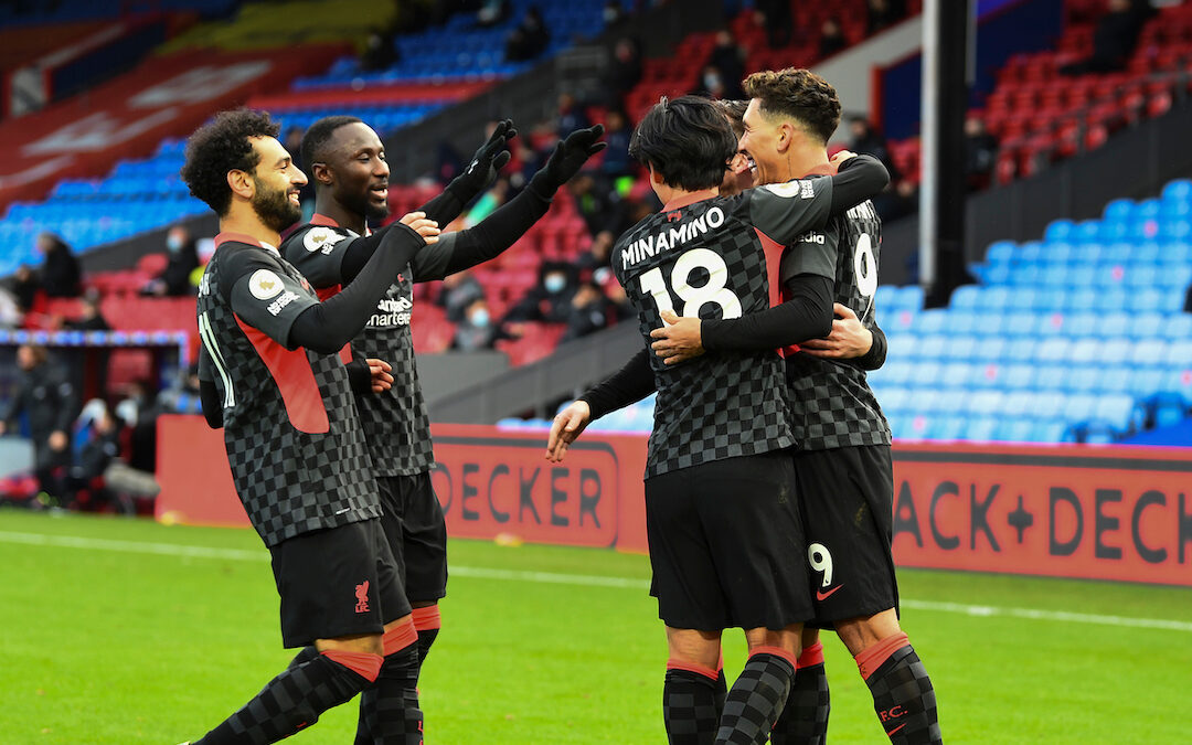 Liverpool's Roberto Firmino celebrates with team-mates after scoring the fifth goal during the FA Premier League match between Crystal Palace FC and Liverpool FC at Selhurst Park
