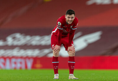 Liverpool's Andy Robertson looks dejected after the FA Premier League match between Liverpool FC and West Bromwich Albion FC at Anfield