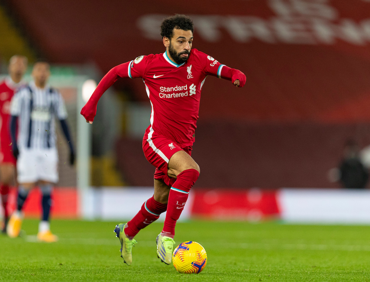 Liverpool's Mohamed Salah during the FA Premier League match between Liverpool FC and West Bromwich Albion FC at Anfield