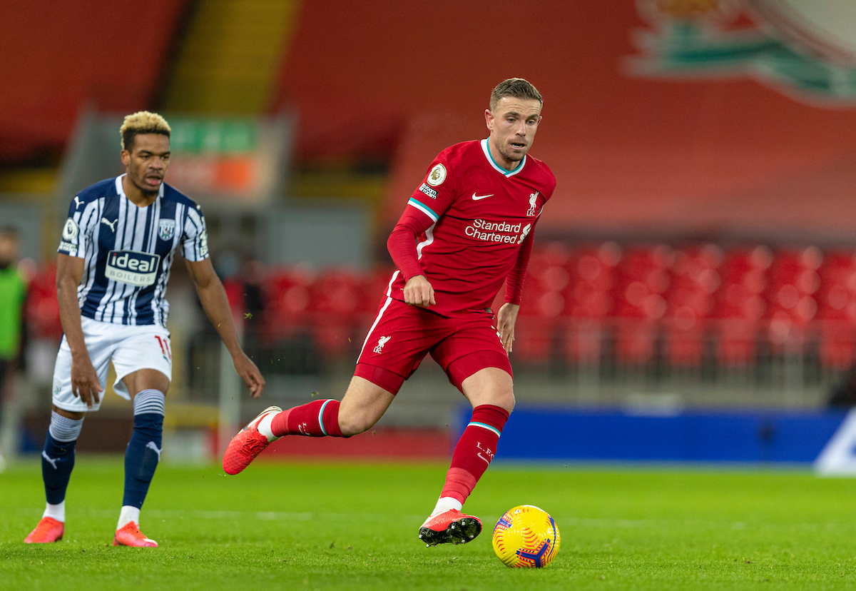 Liverpool's captain Jordan Henderson during the FA Premier League match between Liverpool FC and West Bromwich Albion FC at Anfield