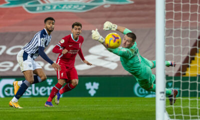 Liverpool's Roberto Firmino sees his header saved by West Bromwich Albion's goalkeeper Sam Johnstone during the FA Premier League match between Liverpool FC and West Bromwich Albion FC at Anfield