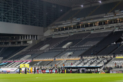 Liverpool players walk out before the FA Premier League match between Newcastle United FC and Liverpool FC at St James' Park