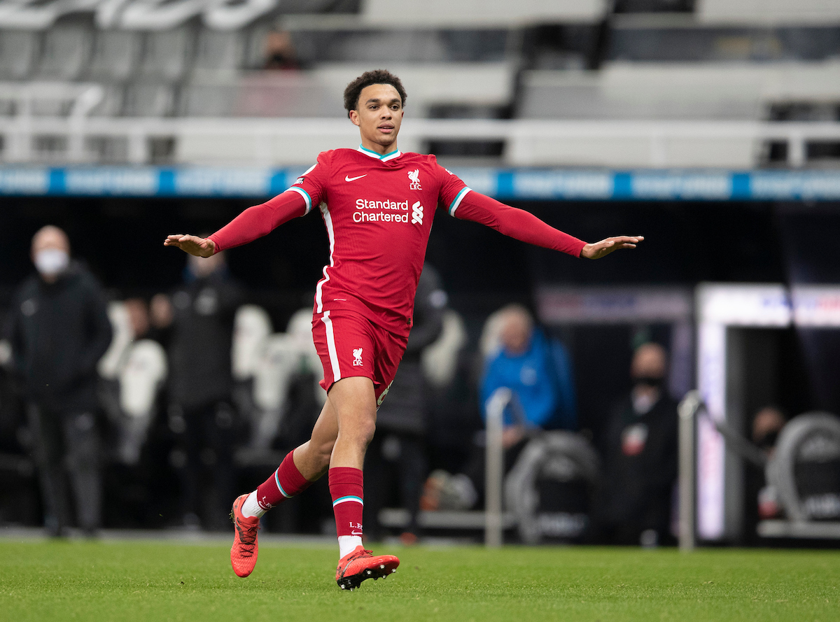 Liverpool's Trent Alexander-Arnold during the FA Premier League match between Newcastle United FC and Liverpool FC at St James' Park