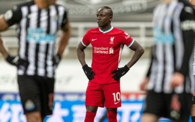 Liverpool's Sadio Mané looks dejected after missing a chance during the FA Premier League match between Newcastle United FC and Liverpool FC at St James' Park