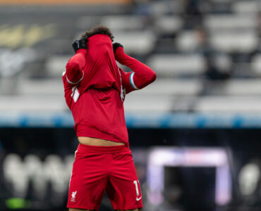 Liverpool's Mohamed Salah looks dejected after missing a chance during the FA Premier League match between Newcastle United FC and Liverpool FC at St James' Park