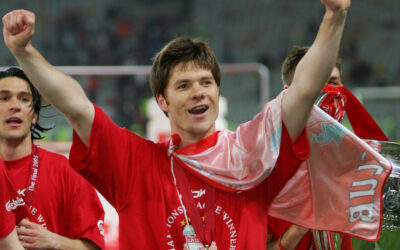 Liverpool's Xabi Alonso celebrates winning European Cup after beating AC Milan on penalties during the UEFA Champions League Final at the Ataturk Olympic Stadium, Istanbul