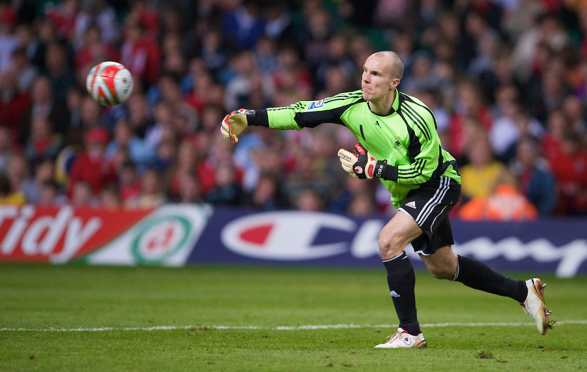 Germany's goalkeeper Robert Enke during the 2010 FIFA World Cup Qualifying Group 4 match at the Millennium Stadium