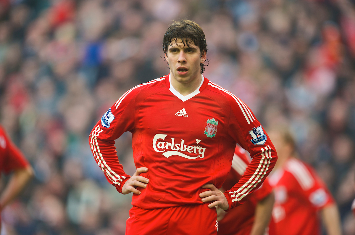 Liverpool's Emiliano Insua in action against Everton during the Premiership match at Anfield