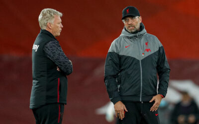 Liverpool's manager Jürgen Klopp (R) chats with West Ham United's manager David Moyes before the FA Premier League match between Liverpool FC and West Ham United FC at Anfield