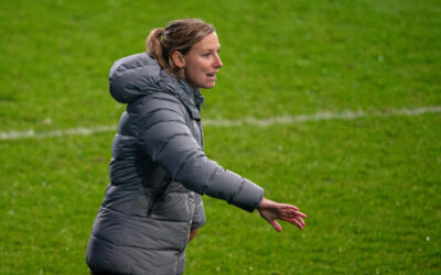 Liverpool's manager Vicky Jepson during the FA Women's Championship game between Liverpool FC Women and Sheffield United Women FC at Prenton Park