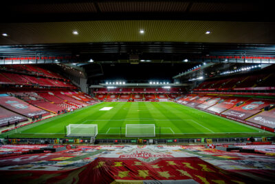 A general view from the Spion Kop before the FA Premier League match between Liverpool FC and Leicester City FC at Anfield