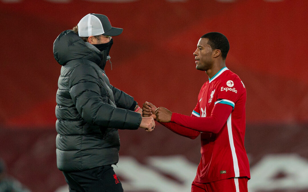 Liverpool's manager Jürgen Klopp with Georginio Wijnaldum