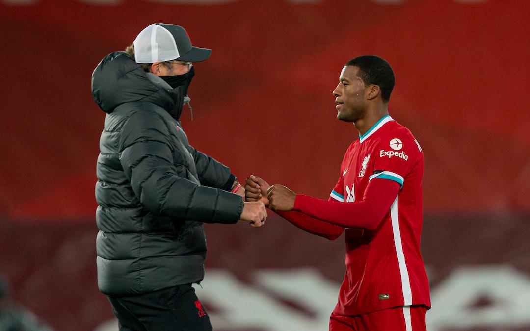 Liverpool's manager Jürgen Klopp with Gini Wijnaldum