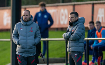 Liverpool's Under-23 coach Barry Lewtas (L) and assistant coach Gary O'Neil during the Premier League 2 Division 1 match between Liverpool FC Under-23's and Blackburn Rovers FC Under-23's at the Liverpool Academy