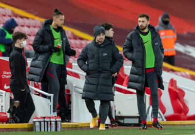 Liverpool's substitutes Rhys Williams, Xherdan Shaqiri and Nathaniel Phillips