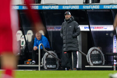 Liverpool's manager Jürgen Klopp during the FA Premier League match between Newcastle United FC and Liverpool FC at St. James' Park