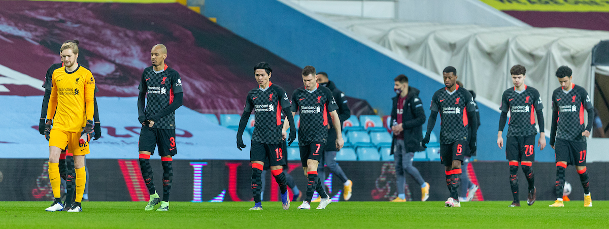 Liverpool players walk out to face Aston Villa during the FA Cup 3rd Round match between Aston Villa FC and Liverpool FC at Villa Park