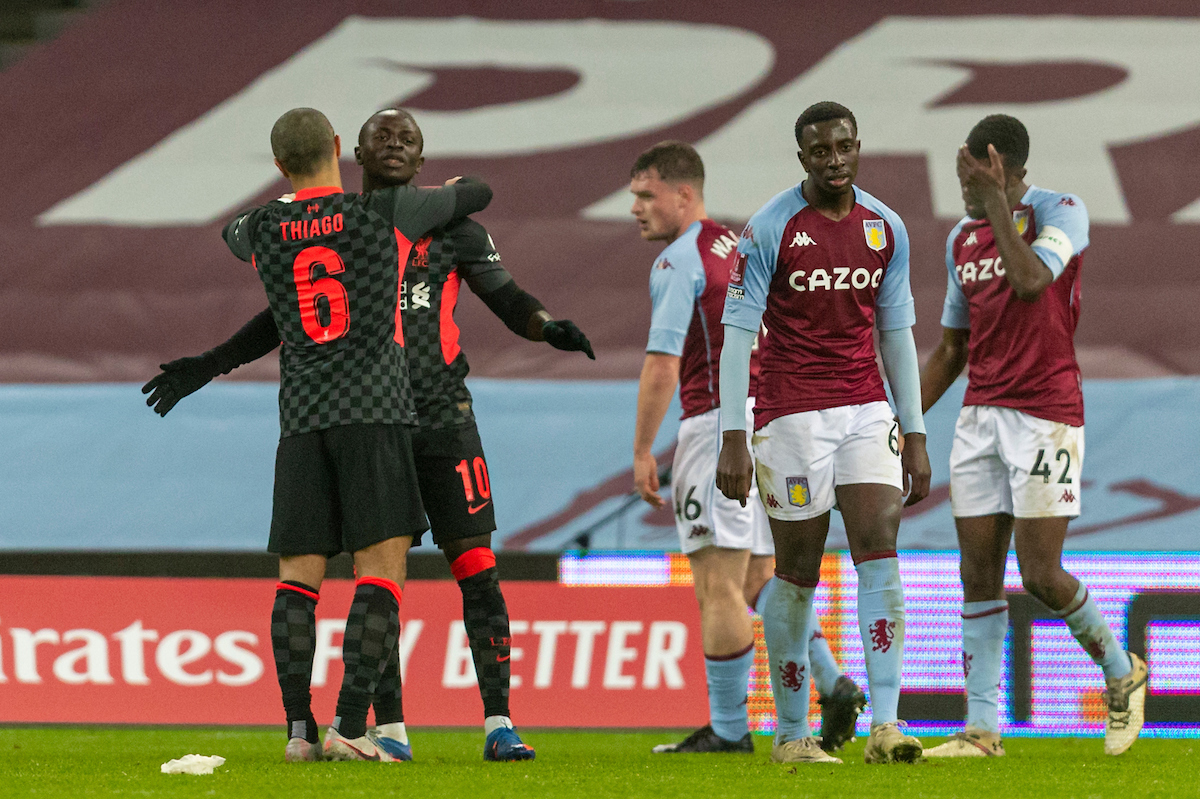 Liverpool's Sadio Mané (R) celebrates with team-mate Thiago Alcantara after scoring the third goal during the FA Cup 3rd Round match between Aston Villa FC and Liverpool FC at Villa Park