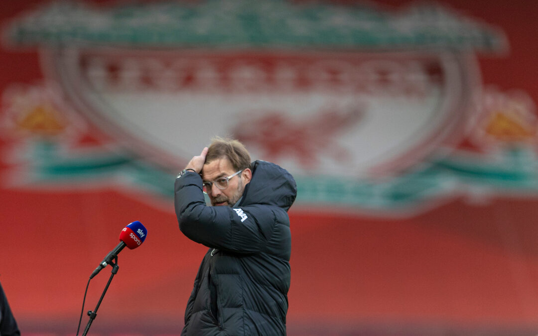 Liverpool's manager Jürgen Klopp before the FA Premier League match between Liverpool FC and Manchester United FC at Anfield