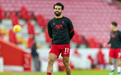 Liverpool's Mohamed Salah during the pre-match warm-up before the FA Premier League match between Liverpool FC and Manchester United FC at Anfield