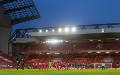 Liverpool and Manchester United players stand to remember the late Gerry Marsden before the FA Premier League match between Liverpool FC and Manchester United FC at Anfield