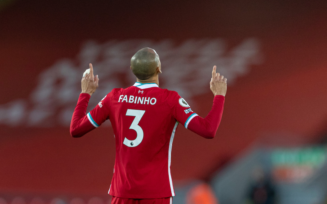 Liverpool's Fabio Henrique Tavares 'Fabinho' prays before the FA Premier League match between Liverpool FC and Manchester United FC at Anfield