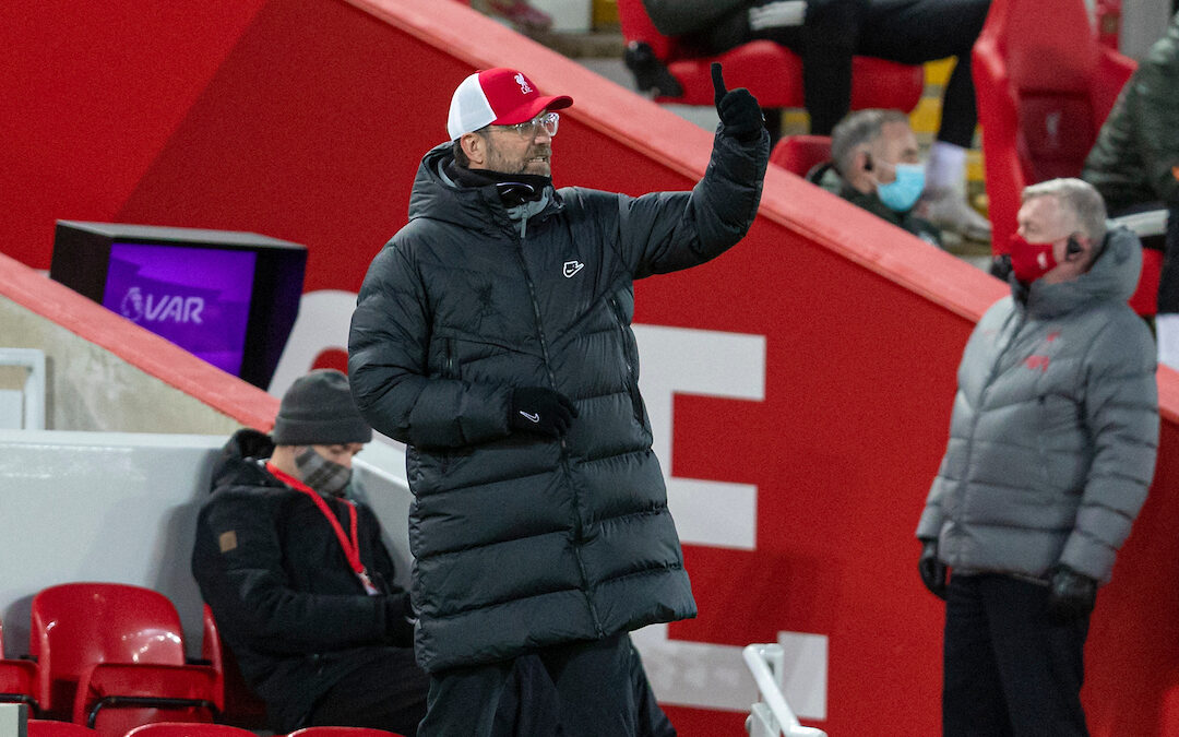 Liverpool's manager Jürgen Klopp during the FA Premier League match between Liverpool FC and Manchester United FC at Anfield