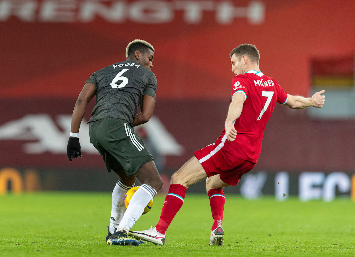 Liverpool's James Milner during the FA Premier League match between Liverpool FC and Manchester United FC at Anfield