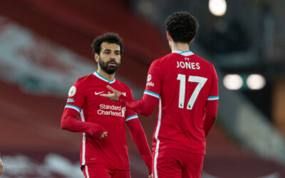 Liverpool's Mohamed Salah (L) and Curtis Jones after the FA Premier League match between Liverpool FC and Manchester United FC at Anfield
