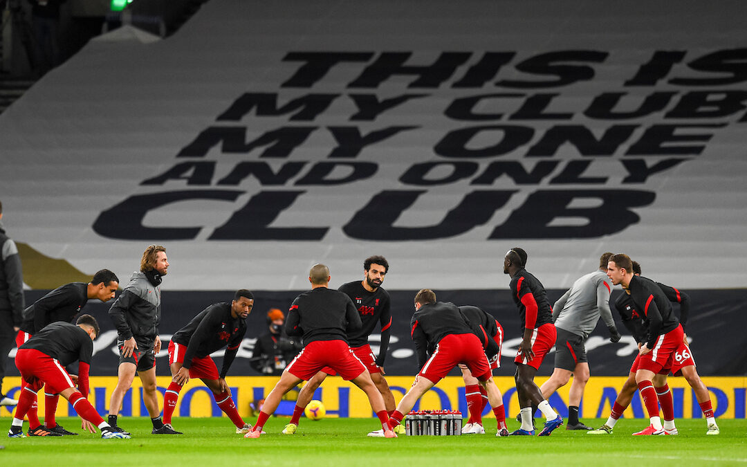 Liverpool's Mohamed Salah and team-mates during the pre-match warm-up before the FA Premier League match between Tottenham Hotspur FC and Liverpool FC at the Tottenham Hotspur Stadium