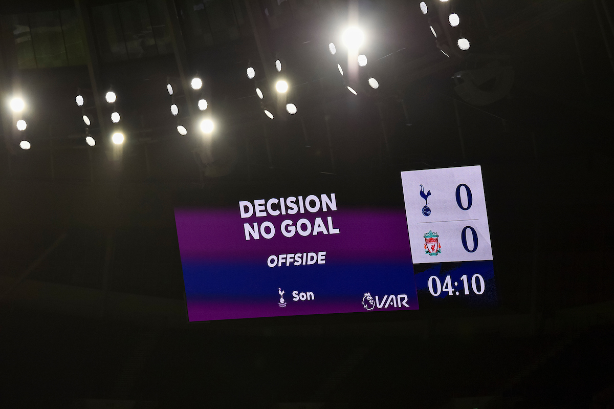Tottenham Hotspur's opening goal is disallowed for offside after a VAR review during the FA Premier League match between Tottenham Hotspur FC and Liverpool FC at the Tottenham Hotspur Stadium