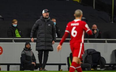Liverpool's manager Jürgen Klopp reacts during the FA Premier League match between Tottenham Hotspur FC and Liverpool FC at the Tottenham Hotspur Stadium