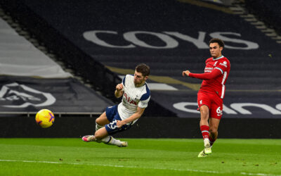 Liverpool's Trent Alexander-Arnold scores the second goal during the FA Premier League match between Tottenham Hotspur FC and Liverpool FC at the Tottenham Hotspur Stadium