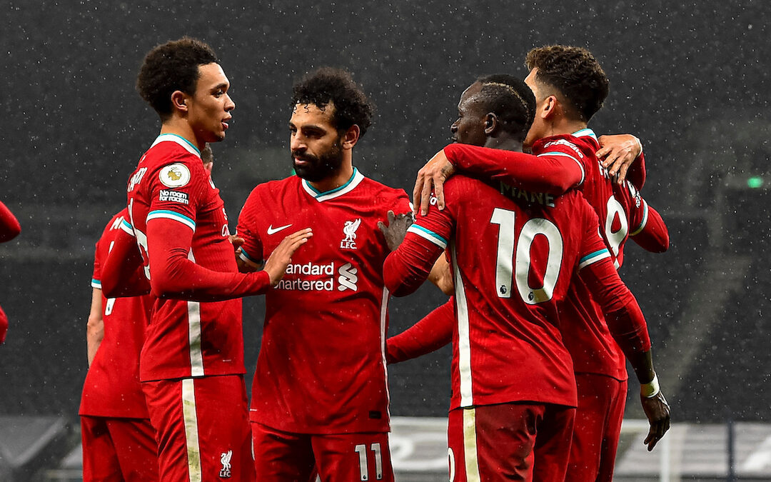 Liverpool's Sadio Mané (R) celebrates with team-mates after scoring the third goal during the FA Premier League match between Tottenham Hotspur FC and Liverpool FC at the Tottenham Hotspur Stadium