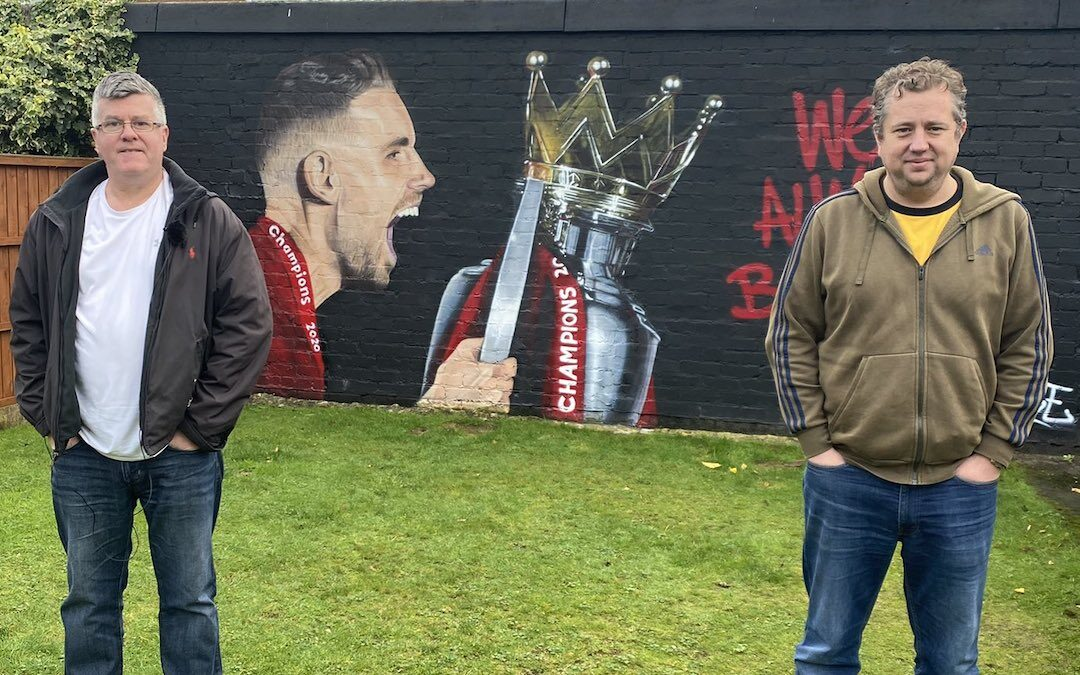John Gibbons with Dave Kerruish from Liverpool's Nivea campaign in front of his Jordan Henderson mural