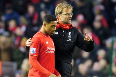 Liverpool's manager Jürgen Klopp talks to Jordon Ibe after the Premier League match against West Bromwich Albion at Anfield