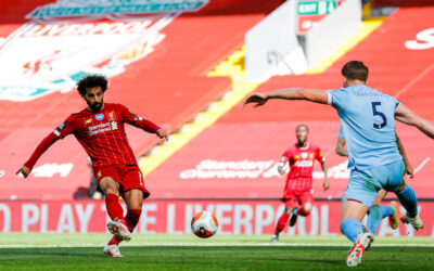 Liverpool's Mohamed Salah sees his shot saved during the FA Premier League match between Liverpool FC and Burnley FC at Anfield