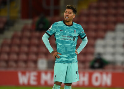 Liverpool's Roberto Firmino looks dejected during the FA Premier League match between Southampton FC and Liverpool FC at St Mary's Stadium