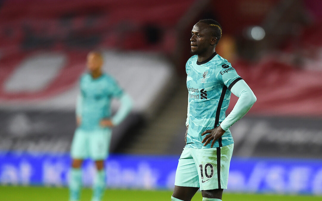 Liverpool's Sadio Mané during the FA Premier League match between Southampton FC and Liverpool FC at St Mary's Stadium